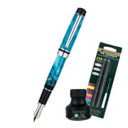 Monteverde® Prima Fountain Pen W/6 Black Refills and 1 Black Ink Bottle, Turquoise Swirl