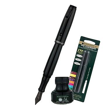 Monteverde® Invincia™ Color Fusion Fountain Pen W/6 Black Refills& 1 Black Ink Bottle, Stealth Black