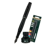Monteverde® Invincia™ Color Fusion Fountain Pen W/6 Black Refills& 1 Black Ink Bottle, Stealth Black