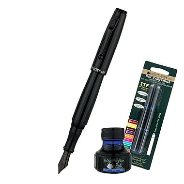 Monteverde® Invincia™ Color Fusion Fountain Pen W/6 Blue Refills & 1 Blue Ink Bottle, Stealth Black