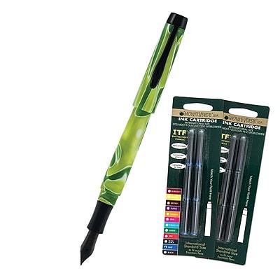 Monteverde® Intima Fountain Pen W/6 Black and 6 Blue Refills, Neon Green