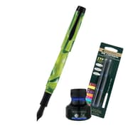 Monteverde® Intima Fountain Pen W/6 Blue Refills and 1 Blue Ink Bottle, Neon Green