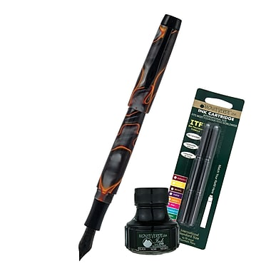 Monteverde® Intima Fountain Pen W/6 Black Refills and 1 Black Ink Bottle, Volcano Gray