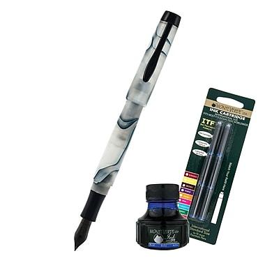 Monteverde® Intima Fountain Pen W/6 Blue Refills and 1 Blue Ink Bottle, Glacier Blue