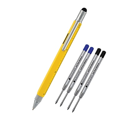 Monteverde® Touch Screen Stylus Tool Ballpoint Pen W/2 Black and 2 Blue Refills, Yellow