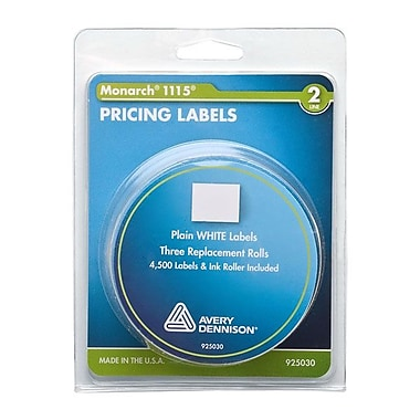 Monarch 1115/Alpha 2-Line Pricemarker Labels, White, 4,500 Labels/Pack