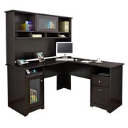 Bush® Cabot Collection L-Desk and Hutch, Espresso Oak