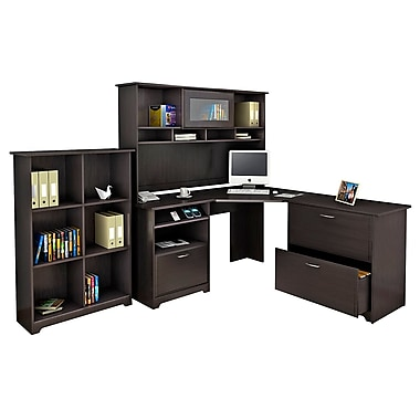 Bush® Cabot Collection Corner Desk, Hutch, Lateral File and Bookcase, Espresso Oak