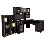 Bush® Cabot Collection L-Desk, Hutch and Bookcase, Espresso Oak