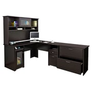 Bush® Cabot Collection L-Desk, Hutch and Lateral File, Espresso Oak