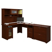 Bush® Cabot Collection L-Desk, Hutch and Lateral File, Harvest Cherry