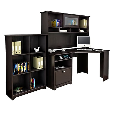 Bush® Cabot Collection Corner Desk, Hutch and Bookcase, Espresso Oak