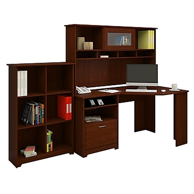 Bush® Cabot Collection Corner Desk, Hutch and Bookcase, Harvest Cherry