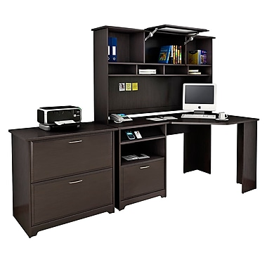 Bush Cabot Collection Corner Desk Hutch And Lateral File Espresso Oak