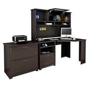 Bush® Cabot Collection Corner Desk, Hutch and Lateral File, Espresso Oak