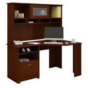 Bush® Cabot Collection Corner Desk and Hutch, Harvest Cherry