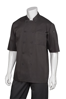 Chef Works® Montreal Cool Vented Short Sleeve Basic Chef Coat, Black, Large