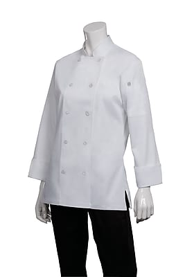 Chef Works® Marbella Long Sleeve Women's Executive Chef Coat, White, Small