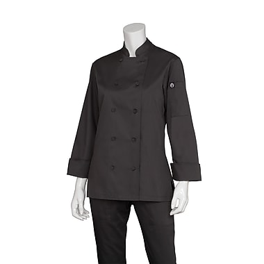 Chef Works® Marbella Long Sleeve Women's Executive Chef Coat, Black, XL