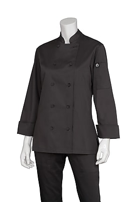 Chef Works® Marbella Long Sleeve Women's Executive Chef Coat, Black, Medium