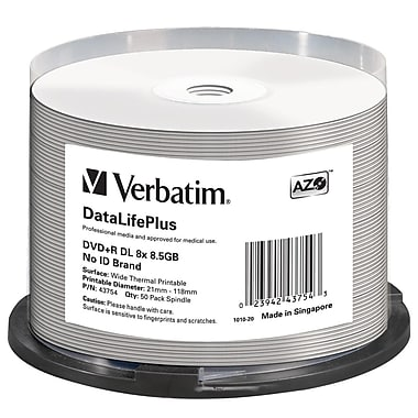 Verbatim Datalifeplus 43754 DVD Recordable Media Spindle, DVD+R Dl, 8X, 8.50GB, 50/Pack