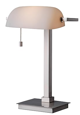 Kenroy Home 60 W 1 Light Wall Street Desk Lamp, Brushed Steel