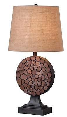 Kenroy Home Knot Table Lamp, Golden Flecked Bronze With Wood Accents