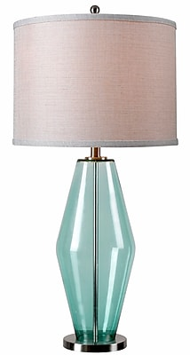 Kenroy Home Azure Table Lamp, Teal Glass
