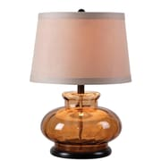 Kenroy Home Alamos Table Lamp, Bro Wn Glass