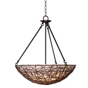 "Kenroy Home Thicket 25"" x 21"" 3 Light Pendant W/Cream Scavo Shades, Rattan"