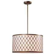 "Kenroy Home Tripoli 10"" x 18"" 3 Light Pendant W/White Fabric Shades, Antique Gold"