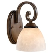 "Kenroy Home 10"" x 6"" Terrain 1 Light Wall Sconce With Amber Dust Glass Shade, Aruba Teak"