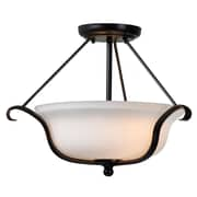 "Kenroy Home Basket 12"" x 17"" 2 Light Semi-Flush Mount W/Mini White Glass Shades, Oil Rubbed Bronze"
