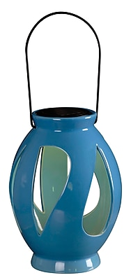 Kenroy Home 1 Light LED Leaves Solar Lantern, Blue Ceramic