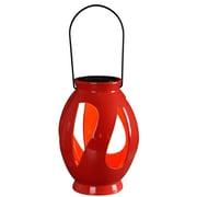 Kenroy Home 1 Light LED Leaves Solar Lantern, Red Ceramic