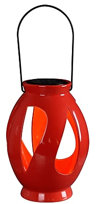 Kenroy Home 1 Light LED Leaves Solar Lantern, Red Ceramic