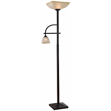 Kenroy Home 100 W 2 Light Arch Mother and Son Square Torchiere, Oil Rubbed Bronze