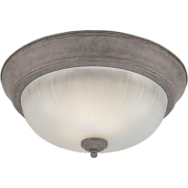 Aurora® 2 Light Flush Mount W/Fluted Satin Etched Glass Shade, Desert Stone