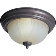 "Aurora® 6 1/4"" x 13 1/4"" 18 W 2 Light Flush Mount W/Umber Mist Glass Shade, Black Cherry"