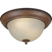 "Aurora® 5 1/2"" x 11 3/4"" 13 W 2 Light Flush Mount W/Umber Glass Shade, Rustic Sienna"