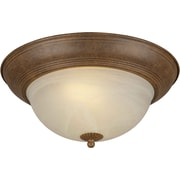 "Aurora® 6"" x 13 1/4"" 18 W 2 Light Flush Mount W/Umber Cloud Glass Shade, Chestnut"