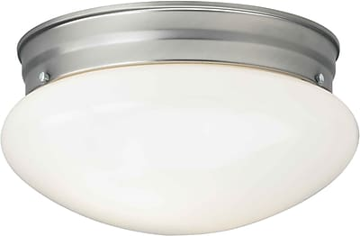 "Aurora® 5 1/4"" x 9 1/2"" 26 W 1 Light Flush Mount W/Opal Glass Shade, Brushed Nickel"