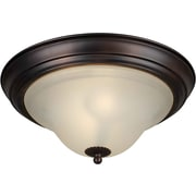 "Aurora® 6"" x 13 1/4"" 18 W 2 Light Flush Mount W/Umber Glass Shade, Antique Bronze"