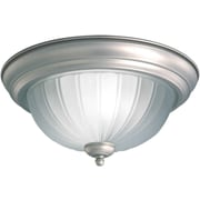 "Aurora® 6.5"" x 15.25"" 60 W 3 Light Flush Mount W/Fluted Satin Etched Glass Shade, Brushed Nickel"