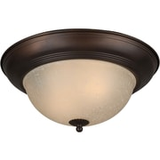 "Aurora® 6"" x 14"" 75 W 2 Light Flush Mount W/Umber Linen Glass Shade, Antique Bronze"