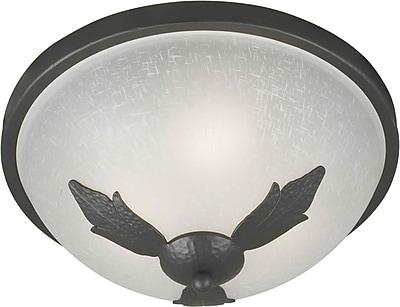 "Aurora® 7"" x 15"" 60 W 3 Light Flush Mount W/White Linen Glass Shade, Natural Iron"
