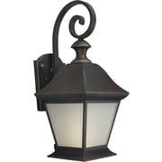 "Aurora® 20 1/4"" x 9"" 26 W 1 Light Outdoor Lantern W/Frosted Seeded Glass Shade, Royal Bronze"