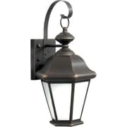 "Aurora® 17"" x 8 1/2"" 18 W 1 Light Outdoor Lantern W/Frosted Seeded Glass Shade, Royal Bronze"