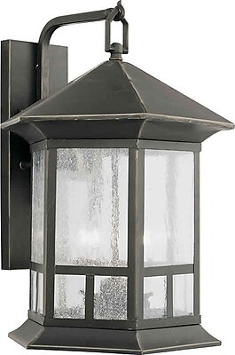 Aurora® 4 Light Outdoor Lantern W/Clear Seeded Glass Shade, Royal Bronze