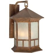 """Aurora® 17 1/2"""" x 12 1/2"""" 60 W 4 Light Outdoor Lantern W/Umber Linen Glass Shade, Rustic Sienna"""